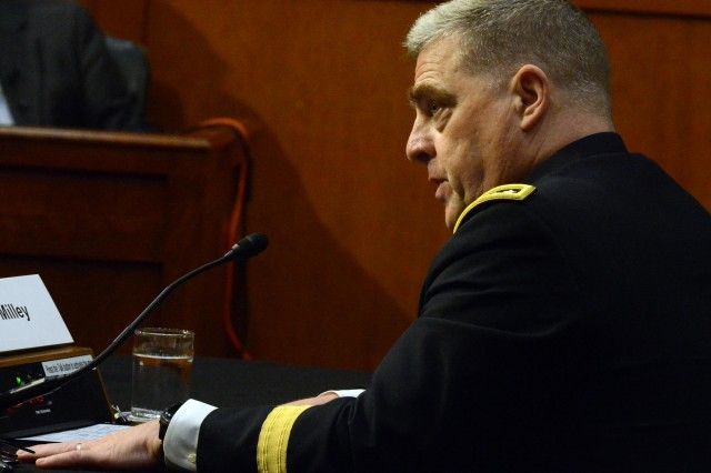 Gen. Mark A. Milley testifies before a Senate Armed Services Committee hearing, July 21, 2015, regarding his nomination to become the next Army chief of staff.
