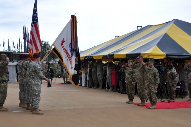 FORT BRAGG, N.C. (Aug. 10, 2015) - (from left) Command Sgt. Maj. Scott C. Schroeder, the 108th Air Defense Artillery Brigade, XVIII Airborne Corps, Honor Guard, Gen. Mark A. Milley, Gen. Raymond T. Odierno, and Gen. Robert B. Abrams render honors to the nation during the national anthem at the U.S. Army Forces Command change of command ceremony. Odierno, chief of staff of the Army, officiated the ceremony that transferred command responsibility from Milley to Abrams.