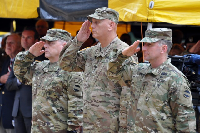 FORT BRAGG, N.C. (Aug. 10, 2015) - Gen. Mark A. Milley, outgoing commanding general, U.S. Army Forces Command; Gen. Raymond T. Odierno, chief of staff of the Army; and Gen. Robert B. Abrams, incoming FORSCOM commanding general, render honors to the nation at the start of the FORSCOM change of command ceremony wherein Odierno transferred command authority from Milley to Abrams.