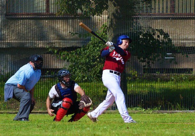 US Soldiers play Latvian National Baseball Team in esprit de corps game