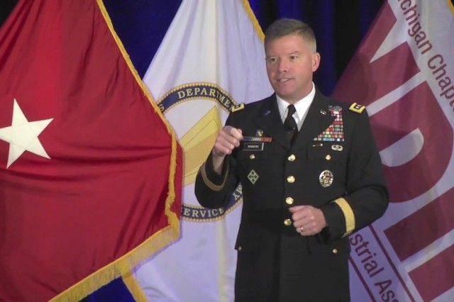 Gen. David Perkins, Commanding General, U.S. Army Training and Doctrine Command, delivers the keynote address to the 2015 Ground Vehicle Systems Engineering & Technology Symposium in Novi, Mich., Aug. 4, 2015.