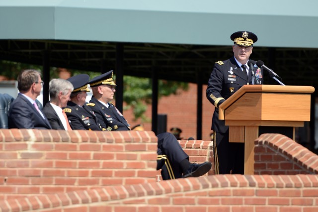 Newly sworn in Army Chief of Staff Gen. Mark A. Milley addresses attendees at the Army change-of-responsibility ceremony on Summerall Field, Joint Base Myer-Henderson Hall, Aug. 14, 2015.