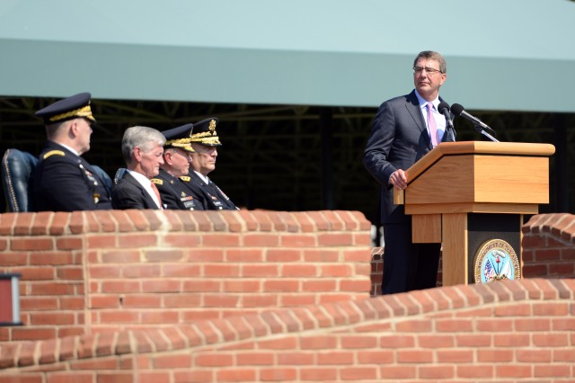 Defense Secretary Ash Carter addresses attendees at the Army chief of staff change-of-responsibility ceremony on Summerall Field, Joint Base Myer-Henderson Hall, Va, Aug. 14, 2015.