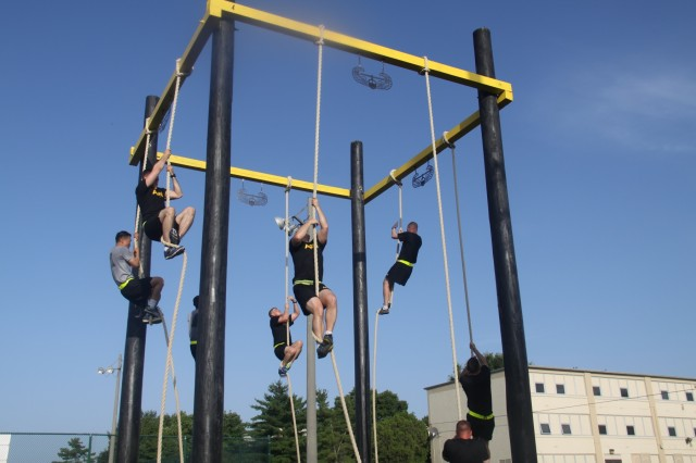 In this file photo, Soldiers, with the 39th Brigade Engineer Battalion, 2nd Brigade Combat Team, 101st Airborne Division (Air Assault), climb ropes during physical training on Fort Campbell, Ky., June 17, 2015.