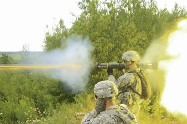 Spc. Josh Ludkin, B Company, 2nd Battalion, 87th Infantry Regiment, 2nd Brigade Combat Team, fires an anti-tank rocket during a platoon live fire exercises on Fort Drum Aug. 14.
