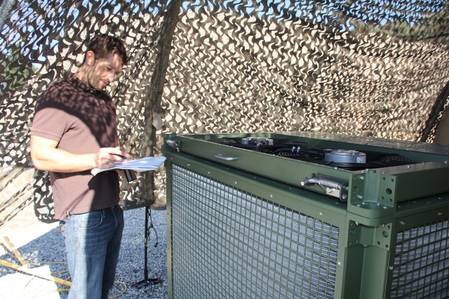 Data collection takes place for CERDEC's Innovative Cooling Equipment program, which aims to reduce the electrical energy required to produce cooling and heating for forward bases as well as Brigade and below environmental requirements, during a demonstration at the Base Camp Integration Lab at Fort Devens, Massachusetts July 7-31.