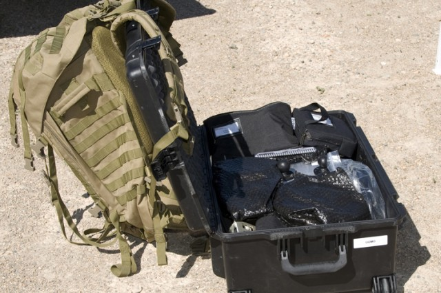 Pronto4™ Uomo Applique' Kit designed by Kairos Autonomi in its travel case. The unmanned ground vehicle system was designed for quick transfer on a battlefield. The entire system can be easily carried in a Soldier's rucksack.