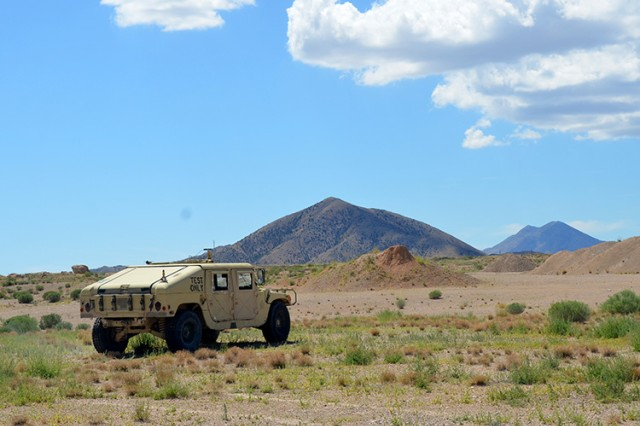 The unmanned Pronto4™ Uomo Applique' Kit was installed and piloted in a Humvee Aug. 13 2015 is driven on U.S. Army Dugway Proving Ground, Utah. The remote Army post size is nearly 700,000 acres of high desert terrain, which is the roughly size of Rhode Island.