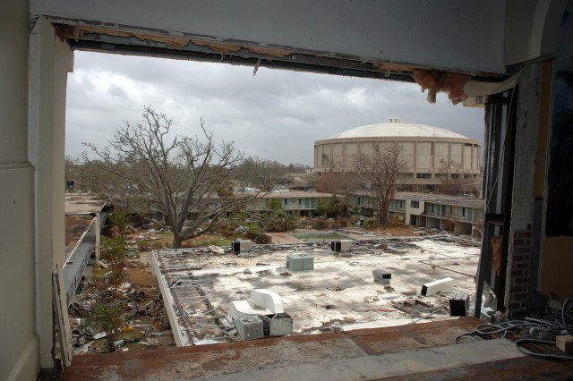 The Mississippi Coast Coliseum and Convention Center, Sept. 25, 2005, was devastated by Hurricane Katrina, which made landfall Aug. 29, 2005.