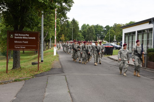 Paratroopers, with the 1st Brigade Combat Team, 82nd Airborne Division, march across Smith Barracks in Baumholder, Germany, Aug. 19, 2015.