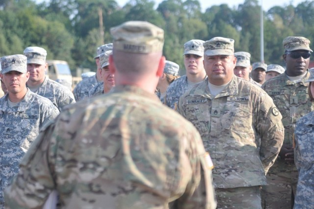 Soldiers with the 3rd Expeditionary Sustainment Command deployed to Kaiserslautern, Germany, Aug. 10, in support of Operation Swift Response, a three-week multi-nation exercise. (U.S. Army photo by Staff Sgt. Justin Silvers)