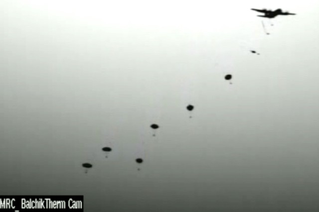 Paratroopers from the U.S. Army's 173rd Airborne Brigade, the Italian Army's Forgore Regiment and the Bulgarian 68th Special Forces Brigade conduct a parachute assault from a U.S. Air Force C-130 aircraft Aug. 24, 2015 at Balchik Airfield, Bulgaria for Exercise Swift Response 15. Swift Response is a large-scale multinational airborne exercise involving 4,500 troops from 11 NATO nations and takes place across Bulgaria, Germany,Italy and Romania.