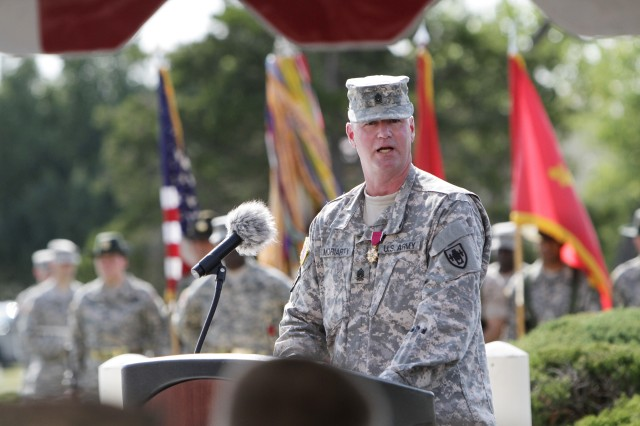 Command Sgt. Maj. Daniel Moriarty thanks people he worked with during his time as the Field Artillery and Field Artillery School House CSM. His retreat ceremony was Aug. 21, 2015, outside McNair Hall. He relinquished his duties to CSM Robert Lehtonen.