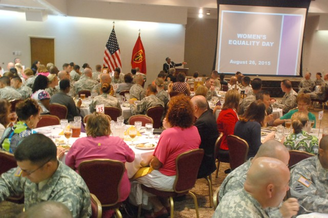 (From left) Irma Newburn, assistant district attorney for Comanche County and Women's Equality Day lunch speaker, talks with Lisa Shaw, Comanche County associate district judge, and Chap. (Col.) John Morris, Fort Sill installation chaplain, Aug. 20, 2015, at the Patriot Club.