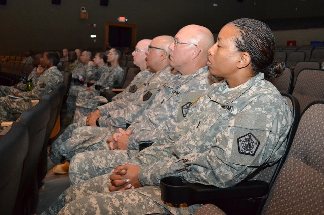 Warrant officers with U.S. Army Human Resources Command and various other Fort Knox units attend to a professional development session with Army Staff Senior Warrant Officer, Chief Warrant Officer 5 David Williams, at the Waybur Theater Aug. 27.
