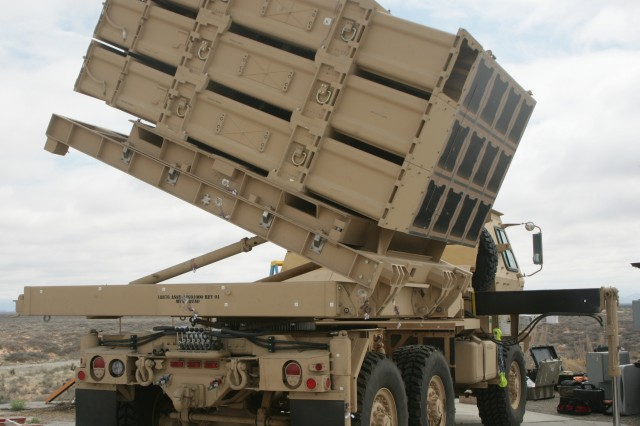 The MML is mounted on a medium tactical truck. The launcher can rotate 360 degrees and elevate from 0-90 degrees