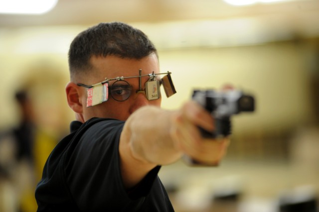 Rapid-fire pistol shooter Sgt. 1st Class Keith Sanderson, seen here practicing at the U.S. Olympic Training Center in Colorado Springs, Colo., is the second Soldier from the U.S. Army World Class Athlete Program to be named to the 2016 U.S. Olympic Team.