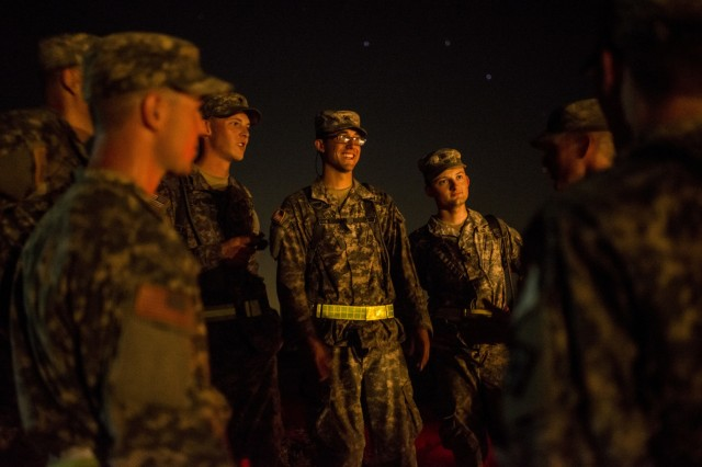 U.S. Army Reserve combat engineers from the 420th Engineer Company, of Indiana, Pa., smile after finishing the X-Mile event, a final race stretching approximately five miles with various challenges along the way to determine the winners of Sapper Stakes 2015 at Fort Chaffee, Ark., Sept. 1. The competition is designed to build teamwork, enhance combat engineering skills and promote leadership among the units. (U.S. Army photo by Master Sgt. Michel Sauret)