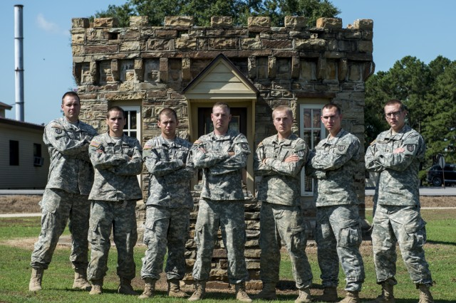 A U.S. Army Reserve team from the 309th Engineer Company (Mobility Augmentation), from Brainerd, Minn., took second place at Sapper Stakes 2015 at Fort Chaffee, Ark., Sept. 2. From left: Spc. Johnathan O'Connell, Spc. Randy Lene, Spc. Jonathan Dubois, Staff Sgt. Michael Koering, Spc. Jeffrey O'Connell, Spc. Trevore Klein and Spc. Todd Brandell. The competition is designed to build teamwork, enhance combat engineering skills and promote leadership among Army Reserve and National Guard combat engineering units. (U.S. Army photo by Master Sgt. Michel Sauret)
