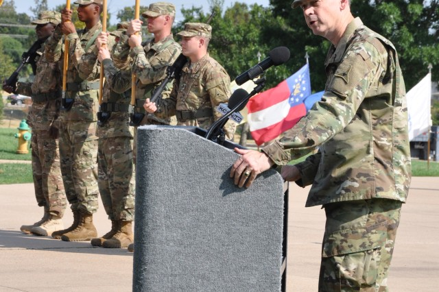 Lt. Gen. Sean MacFarland, III Corps and Fort Hood commanding general, speaks at a color-casing ceremony Aug. 31, at the flagpole in front of the corps headquarters at Fort Hood, Texas. The ceremony marked III Corps' deployment in support of Operation Inherent Resolve.  (U.S. Army photo by Todd Pruden, Fort Hood Public Affairs)