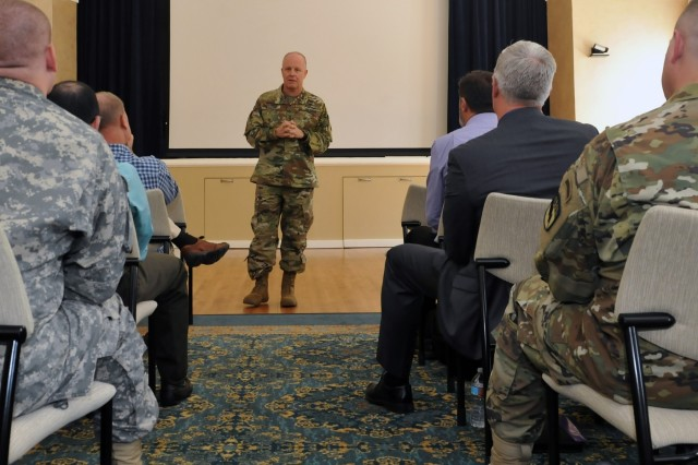 Lt. Gen. Kevin W. Mangum, deputy commanding general and chief of staff of the U.S. Army Training and Doctrine Command on Fort Eustis, Va., speaks at a Command Language Program managers conference at the Defense Language Institute Foreign Language Center at the Presidio of Monterey, Calif., Sept. 2, 2015.