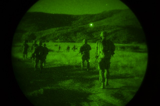 U.S. Army paratroopers assigned to 1st Battalion, 503rd Infantry Regiment, 173rd Airborne Brigade out of Vicenza, Italy, maneuver to the helicopter landing zone following a live-fire exercise at Novo Selo Training Area, Bulgaria, Sept. 1, 2015. The 'Sky Soldiers' from the 173rd Airborne are currently deployed to Bulgaria as part of Operation Atlantic Resolve, an ongoing, multinational partnership focused on combined-training and security cooperation between the U.S. and other NATO allies. (Photo by U.S. Army Staff Sgt. Brooks Fletcher, 16th Mobile Public Affairs Detachment)