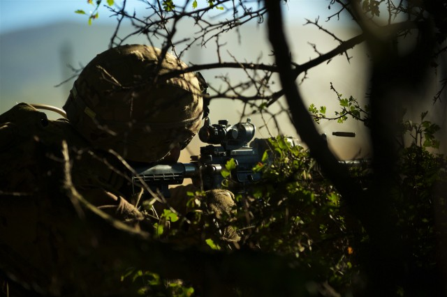 A U.S. Army paratrooper assigned to 1st Battalion, 503rd Infantry Regiment, 173rd Airborne Brigade out of Vicenza, Italy, engages an enemy target during a live-fire exercise at Novo Selo Training Area, Bulgaria, Sept. 1, 2015. The 'Sky Soldiers' from the 173rd Airborne are currently deployed to Bulgaria as part of Operation Atlantic Resolve, an ongoing, multinational partnership focused on combined-training and security cooperation between the U.S. and other NATO allies. (Photo by U.S. Army Staff Sgt. Brooks Fletcher, 16th Mobile Public Affairs Detachment)