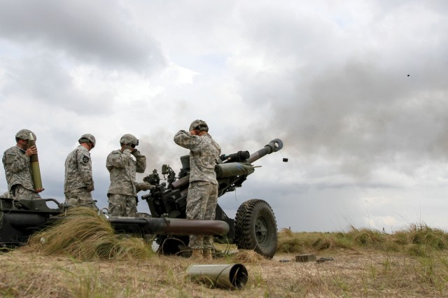 Paratroopers, from the 2nd Battalion, 319th Airborne Field Artillery Regiment, 82nd Airborne Division Artillery, fire rounds from an M119A3 howitzer on Fort Bragg, N.C., during Combined Joint Operational Access Exercise 15-01, the largest bilateral exercise held on Fort Bragg in almost 20 years. In service for more than two decades, the M119 series of howitzers is a proven workhorse now made better.