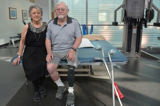 Retired Maj. Gen. William L. Moore Jr. and his wife, Sissy, pose at the Center for the Intrepid in Brooke Army Medical Center's outpatient rehabilitation facility, Sept. 3, 2015. Moore served as Brooke Army Medical Center's commander from 1988-1991.