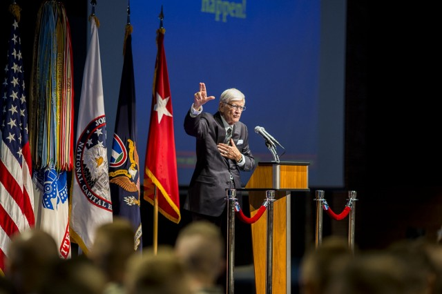 Dr. James T. Reese gives a speech at Conmy Hall Sept. 1 on the Fort Myer portion of Joint Base Myer-Henderson Hall. Reese encouraged Soldiers and first responders in attendance to seek counseling when confronted with difficult and stressful situations, while candidly sharing that he himself has had to do the same.