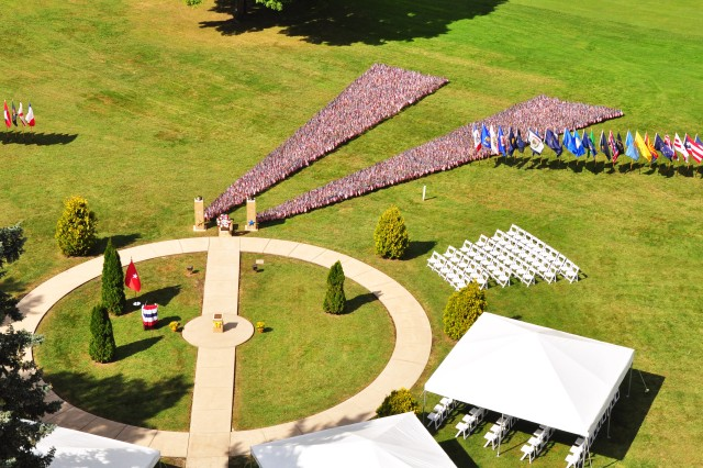 This is an aerial view of the 9/11 Memorial at Rock Island Arsenal following the 14th anniversary remembrance ceremony, Sept. 11.  (Photo by Kevin Fleming, ASC Public Affairs)
