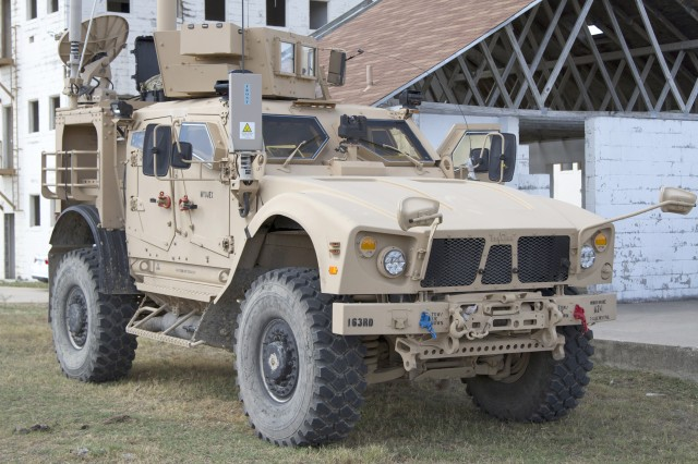 A static display of the Army's Modular Integration Kit is shown mounted on the mine-resistant, ambush-protected-all terrain vehicle at a Fort Hood, Texas, urban training site.