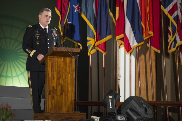 U.S. Army Chief of Staff Gen. Mark A. Milley delivers remarks to the 26 Indo-Asia-Pacific army chiefs and staff delegates as part of the opening ceremonies for the 9th Pacific Armies Chiefs Conference in Bali, Indonesia, Sept. 14, 2015. (U.S. Army photo by Staff Sgt. Chuck Burden / Released)