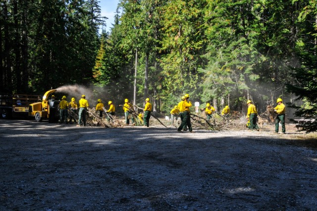 Soldiers from Task Force First Round line up behind a wood chipper to help local and state firefighters with cleanup operations from wildfires in Washington State Sept. 9, 2015. The Soldiers have been focused on suppressing fires for the past two weeks and have no shifted their focus on restoration operations.