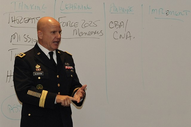 """Lt. Gen. H.R. McMaster, U.S. Army Training and Doctrine Command's deputy commanding general for futures, told Association of the United States Army, or AUSA, members that ideas and valued outcomes have to be turned out faster than our """"determined and adaptive enemies to maintain overmatch,"""" Sept. 10, 2015."""