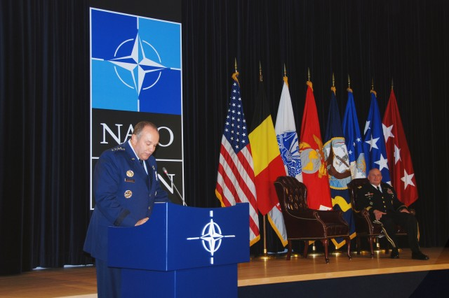 Air Force Gen. Philip M. Breedlove, Supreme Allied Commander, Europe and Commander of U.S. European Command, presiding officer at the  retirement ceremony for Lt. Gen. David R. Hogg, during his speech.