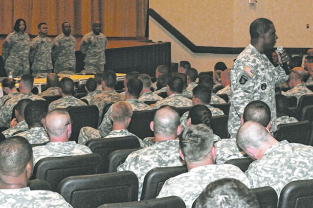 Command Sgt. Maj. Roy Ward, Maneuver Support Center of Excellence and Fort Leonard Wood command sergeant major, talks to Soldiers at his leader professional development session at Abrams Theater on Sept. 2.