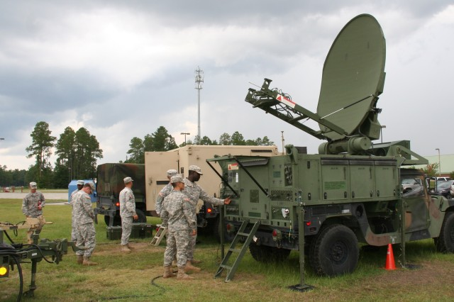 During the Warfighter Information Network-Tactical (WIN-T) Regional Hub Node (RHN) commercial services test event at Fort Stewart in August 2015, the 63rd Expeditionary Signal Battalion used a variety of its organic WIN-T assets to provide satellite transport to and from the RHNs, including  this Phoenix Terminal (right). (U.S. Army photo by Amy Walker, PEO C3T Public Affairs)