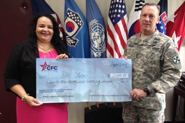 Victoria Adams, Executive Director of the Combined Federal Campaign-Overseas (CFC-O) presents a ceremonial check in the amount of $23,849.37 to Eighth Army Commanding General Lt. Gen. Bernard Champoux Aug. 6, 2015 at Yongsan Garrison in Seoul, South Korea to help support Family Support and Youth Programs. Each year CFC-O distributes undesignated pledges from the campaign back to the military installations where the pledges originated to be used for quality of life programs.