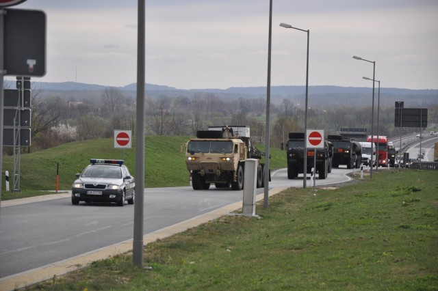 U.S. Army vehicles from the 173rd Airborne Brigade convoy through Hungary en route to Ukraine, Sept. 5, in support of Operation Fearless Guardian.