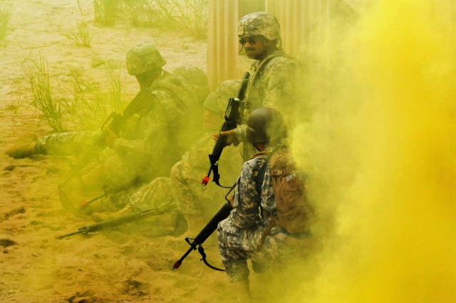 Extreme heat and increased particulates in the air may be a problem for Soldiers in the future with climate change, an Army science advisor said. Here Soldiers, from 77th Sustainment Brigade, train on Joint Base McGuire-Dix-Lakehurst, N.J.