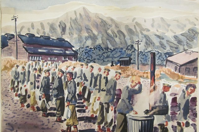 "Sgt. Angelo Gepponi, who served as a cook with the 77th Infantry Division during World War II, would paint scenes from daily life around camp. This watercolor, called ""Field Mess Line (Untitled),"" depicts Soldiers waiting to get chow. Gepponi's combat works will be displayed in the ""Cook, Pot and Palette"" exhibit at the U.S. Army Heritage and Education Center in Carlisle, Pennsylvania, until December 2015."
