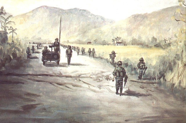 "Former Spc. 4 Dennis Baccheschi, assigned to the 18th Engineer Brigade during Vietnam, painted ""Mine Sweep"" from photos he took while riding along behind the sweepers in a Jeep. Baccheschi inherited his artistic gifts from his uncle, Angelo Gepponi, who served as a U.S. Army cook in the Pacific during World War II. In his down time, Gepponi would document the daily life in camp using a variety of artistic mediums."