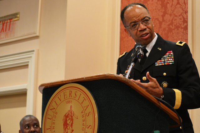 "Maj. Gen. A. C. Roper addresses the Booker T. Washington Centennial Awards Leadership Banquet at Tuskegee University, Tuskegee, Ala., Sept. 24, 2015. The topic of Roper's speech was ""Applying the Principles of Public Service to Leadership in Business and Community."" The Banquet marked the culmination of the Booker T. Washington Economic Development Summit"