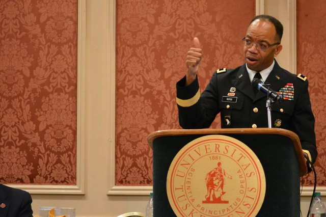 "Maj. Gen. A. C. Roper addresses the Booker T. Washington Centennial Awards Leadership Banquet at Tuskegee University, Tuskegee, Ala., Sept. 24, 2015. The topic of Roper's speech was ""Applying the Principles of Public Service to Leadership in Business and Community."" The Banquet marked the culmination of the Booker T. Washington Economic Development Summit."