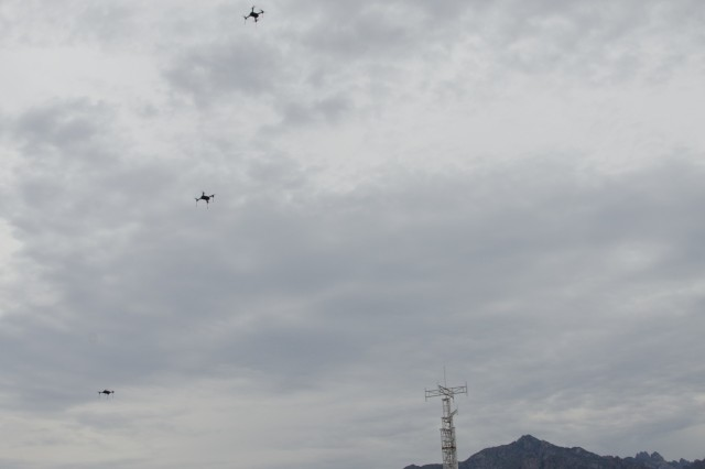 Five small off-the-shelf drones launch from White Sands Missile Range, Sept. 3, 2015, in preparation for Network Integration Evaluation 16.1.