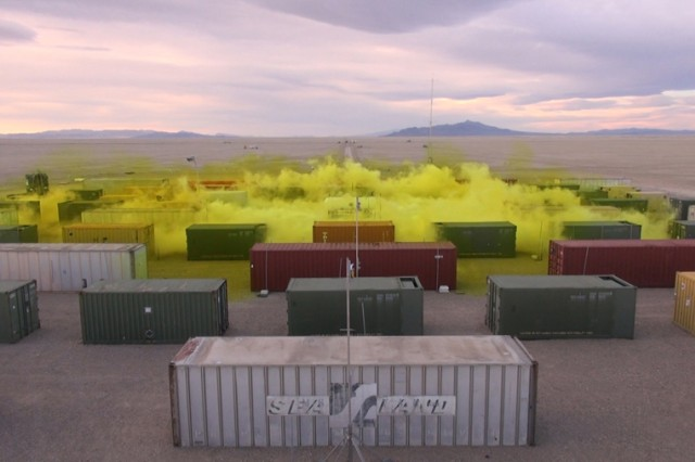 A cloud of chlorine gas moves among condemned shipping containers and vehicles that replicate urban structures and first-responder response. The vastness of remote Dugway Proving Ground, Utah, with a salt flat uninhabited by flora or fauna, offered a perfect test site. Unstable, chlorine gas dissipates quickly and degrades into a salt.