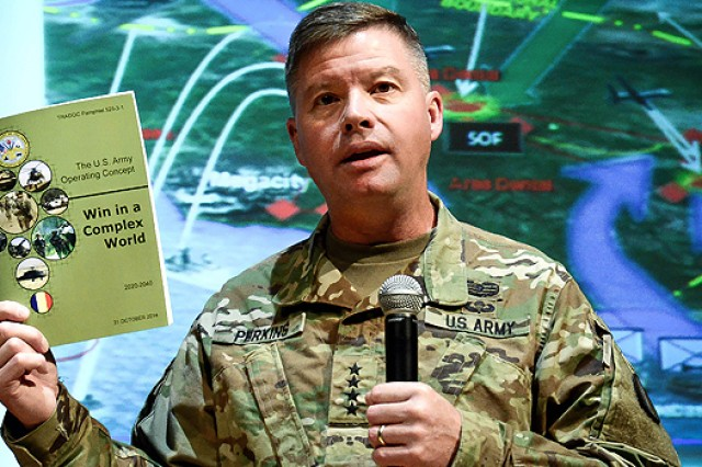 Gen. David G. Perkins, commanding general of U.S. Army Training and Doctrine Command, talks to the 454 students of Sergeants Major Course Class 66 at the U.S. Army Sergeants Major Academy on Fort Bliss, Texas, Sept. 30, 2015.