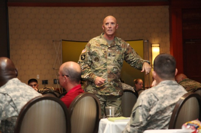 Command Sgt. Maj. Schroeder speaks at BOSS Forum