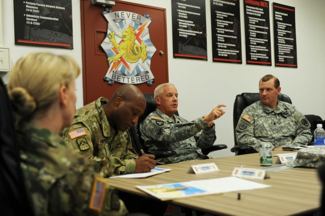 Maj. Gen. Lawrence W. Brock III, commanding general of 311th Signal Command (Theater), discusses day-to day operations Sept. 30 with senior leadership of 78th Signal Battalion inside the conference room of 78th Signal Battalion building during his tour of the Pacific Region. (U.S. Army photo by Noriko Kudo)To see more photos go to USAG-Japan Flickr at https://www.flickr.com/photos/usagj/. To read more go to the Rising Sun Online at http://www.army.mil/RisingSun. To see more photos and videos from the Camp Zama community go to USAG-Japan Pinterest at http://www.pinterest.com/garrisonjapan/.